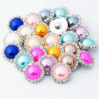 Wholesale Watch Charm Bracelet European - 100Pcs 10colors 2016 Pearl Crystal Metal 18mm Snap Button For female leather Bracelet Direction watches women In Stock