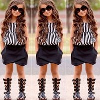 Wholesale Girls Stripped Tops - New Summer wear Girls Casual TOPS + Short Clothing Set Suit Girls Clothe Fashion Wear Kids Strips Vest and Black Shorts