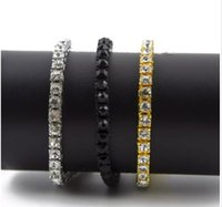 club jewerly hip hop hombres Iced Out 1 Row Rhinestones Pulsera estilo Hip Hop para hombres Clear Rhinestone 8