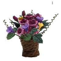 Vente en gros- Dollshouse Miniatures 1:12 Maison de poupée Accessoires de jardin Violet Rouge multicolore en pot Rose Glory Morning Rattan Flower Basket
