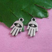 Wholesale Hand Bags Shoes - DIY jewelry accessoris alloy retro silver hamsa hand charms bracelet zipper bags shoes charms buddha hands charm 16x9mm 100pcs lot