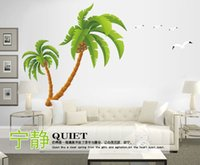 Wholesale Decorative Glass Wall Art - Extra Large Coconut Tree Ocean Birds Wall Sticker DIY Home Decoration Wallpaper Poster Decorative Wall Applique Decal Living Room Wall Decor