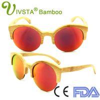 Wholesale Handmade Cats - IVSTA Handmade Bamboo Sunglasses Women Cat Eye Sunglasses Half Rim Semi Rim Fashion Round Wood Sunglasses Wooden Vintage Beach Wholesale