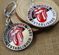 Wholesale Tongue Rings Cartoons - Rock Band rolling stone Lips Tongue keychains key rings Metal bag hangs pendants for women men keyring key chains Retail pack 170573