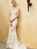 Wholesale Draped Lace Wedding Gown - 2016 Vintage Mermaid Wedding Dresses Sexy Lace Appliques Sheer Neck Bridal Gowns Illusion Lace Skirts Draped Wedding Gowns