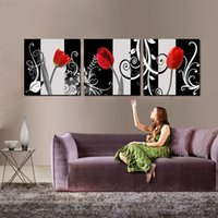 Wholesale Coffee Cup Clocks - Wall decoration Unframed 3 Pieces art picture Canvas Prints Wine Glass Red rose petal tulips orchid Coffee clocks watches cup Cartoon flower
