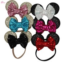 Wholesale Wholesale Glitter Elastic Headbands - XIMA 1PC Child Mickey Minnie Mouse Ears Glitter Sequin Headband Kids Girls Elastic Sequin Headwrap Hair Accessory