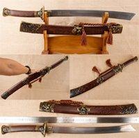 Wholesale Steel Chinese Swords - handmade Chinese sword Damascus steel dagger Dragon tiger pattern