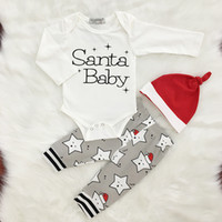 Wholesale Toddler Boy Winter Romper - 3pcs Toddler Newborn Baby Boy Girl Christmas Santa Baby Clothing Set Romper Pants Cap Bodysuit Jumpsuit Printed Letter Star