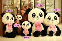 Wholesale Teddy Panda Girl - Panda plush toy teddy bear doll bear hug girls dolls to send his girlfriend a birthday gift Valentine's Day Free Shipping