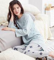 traje de pijama xl al por mayor-Otoño e invierno nuevas damas mangas largas pijamas de algodón traje coreano cuello redondo conjuntos conjuntos de servicio a domicilio informal