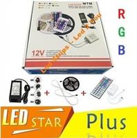 uzaktan kumandalı güç şeritleri toptan satış-5050 led şerit su geçirmez 60 LEDs / m 5 m 300 LEDs RGB 12 V Led Işıklar + 44 tuşları Uzaktan Kumanda + Güç Kaynağı + Ince Perakende Paketi
