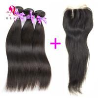 Wholesale Lace Front Part Closure - Brazilian Straight Hair Bundles With Closure Double Weft Black Straight Hair With Front Lace Closures Middle part 3 Pcs