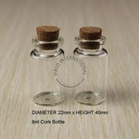 Wholesale Test Tube Pendant - 24pcs x 8ml Small Mini Glass Bottles Vials Jars Test Tubes With Cork Corks Stopper Decorative Corked Glass Bottle For Pendants