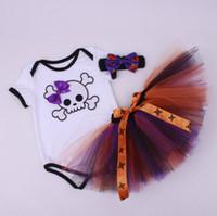 Wholesale Crochet Kids Skirt Pink - 13 Color Halloween Hallowmas Pumpkin Baby Gir One-piece Infant Rompers + Crochet Headbands+TUTU Skirt Climbing Sets Kids Children Clothing