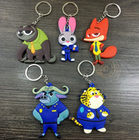Wholesale Police Key Chain - 5 style Zootopia figures key chain Cartoon Animal police officer Rabbit Judy Hopps Nick Fox Wilde pendant accessories