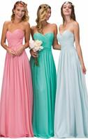 altında turkuaz nedime elbiseleri toptan satış-Criss Çapraz Uzun Gelinlik Modelleri A Hattı Gül Pembe / Turkuaz Yeşil / Sage / Gümüş Korse Plaj Örgün Düğün Parti Elbisesi 2017 Altında Ucuz 90 $