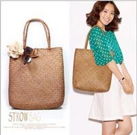 Wholesale National Lights - Summer Women Bag Natural Straw Weave Sandy Beach Lady Messenger Bag Shopping Bag Shoulder Hand Bag 2 colors