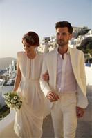 Wholesale Beach Wedding Men Suits - Beach White Tuxedos Men Suits for Wedding 3 Pieces Men Suits Custom Made Groom Wedding Suits Groom Tuxedos Best Man Suits (Jacket+Pants)