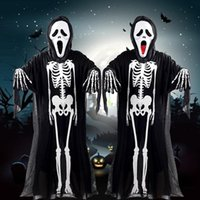 Mucci Halloween Costume Skeleton Ghost Abbigliamento + Skull Devil Mask Demon Ghost Scary Party Abiti Abito per bambini adulti Bambini