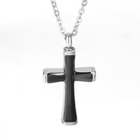 Wholesale Cremation Jewelry Necklace Cross - Urn Necklace Black Cross Locket Pendant Memorial Ash Keepsake Cremation Jewelry with Gift Bag and Funnel