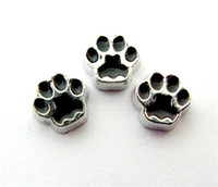 Wholesale Paw Floating Charm - New Design FC450 floating locket charms 10pcs Cat Paw for floating living locket as gift wholesales free shipping