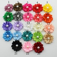 Wholesale Christmas Flowers For Headbands - Satin Ribbon Multilayers Fabric Flowers For headbands Kid DIY Christmas Hair Styling Accessories 50PCS LOT
