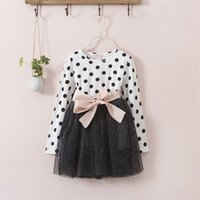 Wholesale Polka Dot Dress 3t - Autumn Winter 3-8 Years Baby Girls Clothing Kids Dresses For Girl Clothes Party Long Sleeve Polka Dot Princess Dress