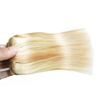 ingrosso doppia capelli disegnati vergini dritto-P27 / 613 candeggina bionda grado 6a + capelli umani remy vergini brasiliani non trasformati dei capelli tesse 1PCS / LOT, doppio disegnato, nessun spargimento