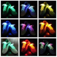 Wholesale Wholesale Led Shoelaces - 30pcs(15 pairs) LED Flashing shoe laces Fiber Optic Shoelace Luminous Shoe Laces Light Up Shoes lace