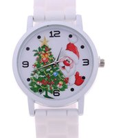 Wholesale Cheap Christmas Watches - newest cheap factory wholesale cartoon silicone rubber strap santa claus christmas watch for boys girls new year gift free shipping