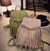 2016 New Fashion WomenGirl Fringe Tassel Backpack Sacs Cartables Sac bandoulière en cuir