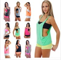 Wholesale Cheap Pink Blouses - 2016 New Sexy Women Halter Sport Casual Deep V Back Vest Loose Tops Blouse Cheap Womens Clothing 7 Colors WY6931