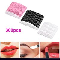 Wholesale disposable lip - 300pcs Ruimio Women Disposable Lip Brushes Set Lipstick Gloss Wands Applicator Makeup Tool Kits 100 *Black +100 *White +100 *Pink