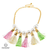 Wholesale Tassel Necklaces China Wholesale - New Fashion woman plating gold chain necklaces Glass pearl short wool tassel necklace jewelry gift for friends
