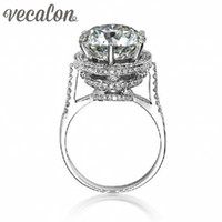 Wholesale diamond ring 5ct - Vecalon 2016 Brand Design Female Crown ring 5ct Simulated diamond Cz 925 Sterling Silver Engagement wedding Band ring for women