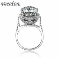 düğün markası taçları toptan satış-Vecalon 2016 Marka Tasarım Kadın Taç yüzük 5ct Benzetilmiş elmas Cz 925 Gümüş Nişan düğün Band yüzük kadınlar için