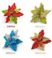 Wholesale Steam Hang - 6pcs 20cm Glitter Powder Celosia cristata Flower steam Pendant ornament For Christmas Party Tree Venun Hanging Decoration