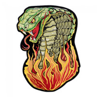 Large Flame Snake Embroidery Iron On Patches For Jacket Clothing Biker Back Vest Fashion Punk Design