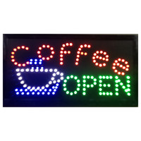 Wholesale Neon Coffee Open Signs - 2016 Open Coffee Led Neon Business Motion Light Sign On off with Chain 19*10 Indoor Use Only Free Shipping