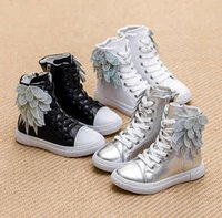 Wholesale Girls Boots Flowers - Hot Sale Boys And Girls Sneakers 2015 Autumn European&American Model Shoes Kids Luxurious Ankle Boots Shoes with Wings