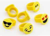 Wholesale Toy Rings Cheap - Emoji Smile Face Finger Ring Yellow Rubber Jelly Rings Boys Girls Cute Mini Fashion Rings Children Cheap Gift Kids Finger Toys