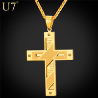 Wholesale bible black - unique New 18K Gold Plated Cross Men Necklace Stainless Jewelry Wholesale Holy Bible Trendy Double Sides Cross Pendant Jewelry P815