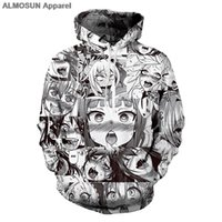 All'ingrosso- ALMOSUN Anime Ahegao Divertente 3D All Over Printed Felpe con cappuccio Tasche Felpa Hipster <b>Casual Street Wear</b> Hip Hop Uomo Donna Taglia US