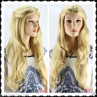 Wholesale Blonde Haired - 100% Hot Sell Brazil dark-haired woman wig cosplay Heat Resistant synthetic?New Cosplay wig Long Wavy Blonde Hair Wigs New Fashion Women Ful