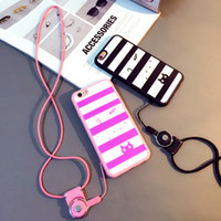 Wholesale Stripe Lanyard - For iPhone 6 6plus case stripe pattern soft case brand new material with adjustable detachable neck lanyard GEL hanging neck strap lanyard