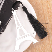 Wholesale Wholesale Gift Packaged Bookmarks - Tower Bookmark With Black Tassels Delicate Box Package Alloy Silver Novelty Gift Book Marker Party Favor 1 2tz F R