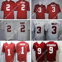 camisas de rugby da faculdade venda por atacado-Alabama Crimson Tide 9 Bo Scarbrough # 1 Nick Saban 2 Derrick Henry # 3 Ridley América College Football Branco Jersey bordado Logos costurado