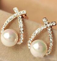 Wholesale Earring Pearls - 2016 Crystal Rhinestone simulated pearl Bowknot Design Girls Ear Stud Earring Earing Fashion Jewelry Women earrings