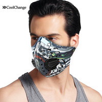 Wholesale Blue Gold Filter - Wholesale-2016 CoolChange Cycling Mask With Filter 9 Colors Half Face Carbon Bicycle Bike Training Mask Mascarilla Polvo Mascaras Ciclismo
